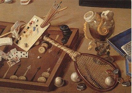 Tableau de Jan van Kessel et Erasmus Quellinus qui représente un jeu de dames avec une raquette de tennis