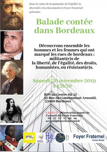 Flyer annonçant la balade contée dans Bordeaux du 30 novembre 2019 à 13h30 devant le Centre Hâ 32.